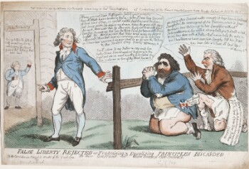 A comic print showing the Prince of Wales, standing, who gestures dismissively toward two kneeling men, Charles James Fox and Richard Brinsley Sheridan. He turns away from them toward the distant figure of King George III. The Prince wears a fashionable blue coat with red collar and cuffs, white waistcoat, breeches and stockings, and black buckled shoes. In a speech bubble, he says: 'I Know you not Vain Profligates. Fall to your prayers; how ill White hairs become a fool & a jester; I have long Dream'd of such kind of men, so surfeit swell'd Seditious and Profane; but being awake I do despise my dream, Know: the grave doth gape for such, thrice wider than for other men, Reply not to me with a fool born jest, Presume not that I am the thing I was, for heaven doth know, So shall the World perceive, that I have turn'd away my former self, so will I those that kept me company, when ye do hear I am as I have been approach me, & ye shall be as ye were the Tutors & the Feeders of my Riots; I will return to my Father & say unto him Father I have Sinned against heaven & in thy sight, and am no more worthy to be Called thy Son make me as One of thy Hired Servants.' Fox and Sheridan kneel behind a fence marked 'Hitherto shall ye go & no further.' Both are weeping and bare-legged; Fox is dark-haired and unshaven, wearing a blue coat with a rosette pinned to the pocket bearing the label 'Your affectionate brother, Egalité.' Sheridan has a red nose and powdered hair, and wears a brown coat. A letter spills from his pocket, reading '...after you have caused the same Disturbances in your country that we have long enjoyed here, fly to the Arms of your Dear Brother Condorcet.' A speech bubble attached to both men reads 'We have often Devised matter enough to keep him in Continual Laughter, the wearing out of Six fashions, which is four terms, or two Actions; & he has Laughed without Intervalliums, a lye with a strong Oath & a Jest with a Sad Brow, has done with a Fellow that never ha