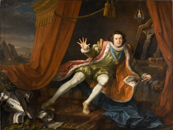 A painting showing the actor David Garrick playing Richard III. He wears green sixteenth-century dress including a red cloak trimmed with ermine, and the Order of the Garter around his neck, starts up from his bed, within a curtained tent. His left hand grasps his sword, lying on the bed beside him, while his right hand, raised in horror and despair occupies the centre of the canvas. He looks into the distance, just beyond the viewer, with an expression of alarm. Behind him is the crown of England and a painting of the Crucifixion, below a burning lamp. Blue drapery is at his feet, partly covering a patterned carpet. At the bottom left, his armour glistens in the light; below the armour is an intercepted note addressed to the Duke of Norfolk with the lines (just visible) 'Jockey of Norfolk be not so bold / Dicken thy Master is / bought & Sold'. Plants, including poppies, curl up into the armour. Behind the red tent is a pitched army, with a group of soldiers around a campfire. The sky is dark, but slightly streaked with red and yellow signalling the rising of the sun.