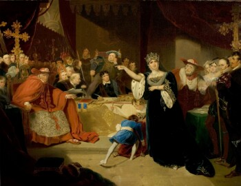 An oil painting of a crowded court scene. Queen Katherine of Aragon, wearing a crown and a dark green velvet gown with ermine-lined sleeves, stands just right of centre and points an accusatory finger at a seated man in a cardinal's red robes and broad-brimmed hat. Another cardinal hovers behind the queen, with one palm raised in apparent disagreement. In the centre of the foreground, two children are attempting to move a heavy red velvet bag or cushion. Behind them, a table spread with a gold cloth bears several books and papers and a gold sceptre. Thomas Cromwell is seated behind the table, in a black coat, white collar, and fur-lined robe, holding a quill pen. Behind him, King Henry VIII sits on an elevated throne; his cheek is propped on one hand, and he wears an elaborate doublet and hat with several chains of office. On both sides, more figures crowd into the background to watch the trial; some of them are dressed as bishops and holding crosiers. There is a  curtained canopy over the king's seat and red velvet curtains on both sides; a glimpse of a vaulted ceiling can be seen through a gap in the curtains.