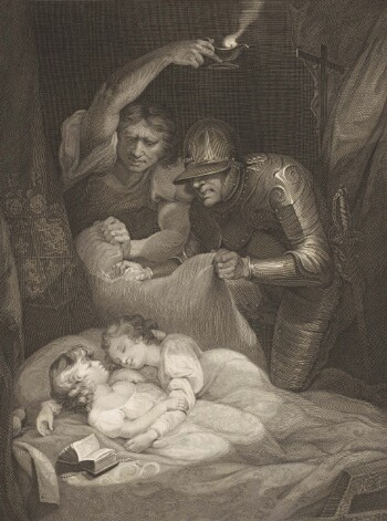 An engraving of a murder scene from Richard III. Two cherubic children with curly hair are sleeping in each others' arms; beside them are an open bible and a crucifix. Two men loom over them: one wears full plate armour with a helmet and a sheathed sword; the other wears a loose shirt and holds an oil lamp high over their heads. Both men are gripping a cushion which they will use to smother the children. A further crucifix is visible through the bed curtains at the top right.