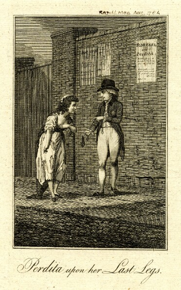 The Prince of Wales and Mary Robinson meet on the pavement near a gate in a high brick wall. He wears a tailcoat, white breeches, and stockings, and offers her a purse. She wears a dress that has worn to rags and stands with stooped posture, gesturing towards her feet. Three playbills are pasted to the wall behind them; two titles are visible, they are 'Jane Shore' and 'Florizel and Perdita'. Below the image, the title is printed: 'Perdita upon her Last Legs.'