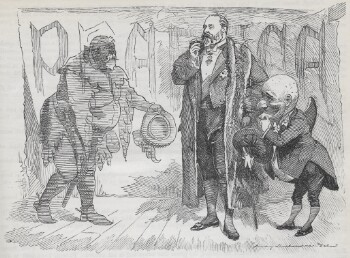 Albert Edward, Prince of Wales meets the ghost of Falstaff, accompanied by Mr Punch. The Prince is tall and fat, with a short beard, holding a cigar, and wearing a formal suit and heavy overcoat. Mr Punch stoops, holding his hat and stroking his chin. He also wears a tailcoat; his head has an exaggerated forehead, nose and chin, and he has an exaggerated hunch on his back. Falstaff is rendered in grey to show his status as a ghost; like Albert Edward he is bearded and overweight, but he wears medieval costume including a sword and hood, and carries a plumed hat.