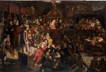 A painting showing the crowded interior of the Globe theatre. At the centre, a special enclosure emblazoned with the royal coat of arms marks Queen Elizabeth I's seat: she sits in a red gown and elaborate ruff flanked by courtiers. On the stage, to the right hand side of the image, a man wearing antlers dances with two women. A group of musicians can be seen at the bottom right, including one with a double bass. The galleries are packed with more spectators, including portraits of various notable figures from the Elizabethan period. The seats directly opposite the stage are occupied by a group of early modern writers, including a standing man in a black coat with gold trim and blue and white striped sleeves, representing Shakespeare himself.