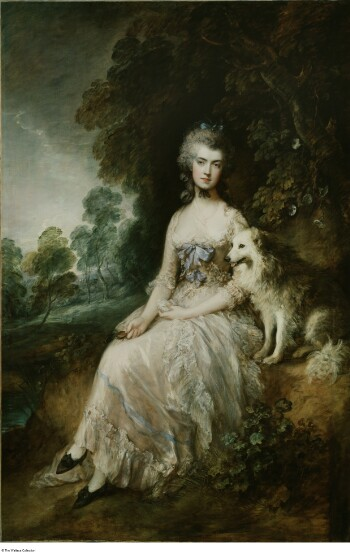 A woman sits on a grassy bank in front of a tree. She is very pale, with a serious expression. Her powdered hair is adorned with a blue bow at the crown of her head and another ribbon tied under her chin. She wears a low-cut white dress with lace trim, a fichu across her breast, and blue ribbons on the bodice. Her hands are in her lap; one hand holds a miniature portrait. On the right sits an alert fox dog with white fur. The background includes more trees and a cloudy sky.