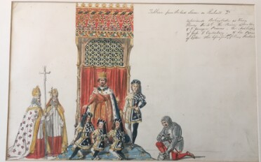 A watercolour sketch of several actors in costume, grouped around an elaborate throne with blue-carpeted pedestal, red curtained back and a patterned red and gold canopy. On the throne, the king wears a long red robe with blue, ermine-lined cloak and a gold crown. To his left and at his feet are four boys wearing identical dark blue and white tunics, stockings and hats, with gold trim. Two bearded men in bishops' robes and mitres, carrying crosiers, stand to the left of the image. On the right of the image, a man in chainmail and breastplate kneels, his helmet in one hand. The handwritten caption in the top right-hand corner reads: 'Tableau from the last Scene in Richard 2d. Represents Bolingbroke as King Henry the 4th, the Prince of Wales, & 3 Younger Princes. The Archbishops of York & Canterbury - & Sir Pierce of Exton the assassinator of King Richard.'