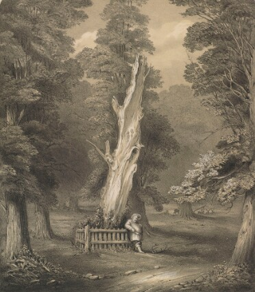 A black-and-white lithograph of a dead tree, its trunk bleached pale. A fence surrounds the base of the trunk, and a fat man leans against it, wearing Elizabethan costume including a ruff and hat. At his feet are a pair of antlers. The scene is surrounded by younger, living trees, and a few deer in the background.