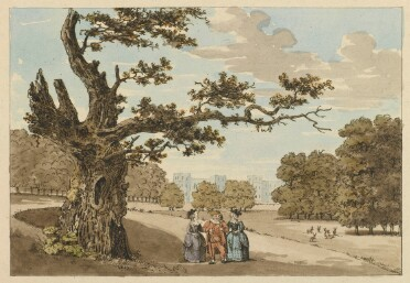 A coloured etching of parkland with Windsor Castle in the background. In the foreground is a very old oak tree with a few living branches. Beside it, a group of three people are gathered: a grinning fat man in an ochre-coloured doublet and hose, a ruff, and a brimmed hat, flanked by two women in respectable eighteenth-century fashions. More trees and several tiny deer are visible behind them.